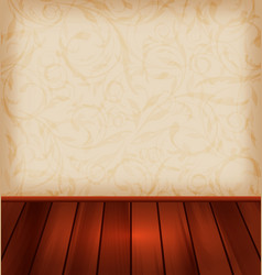Floral wallpaper and wooden floor - vector