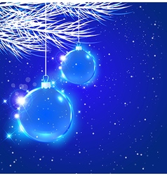 Abstract christmas background with blue decoration vector