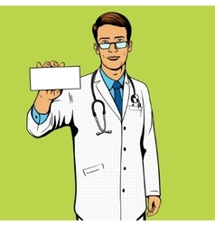 Doctor holding medicine box pop art vector