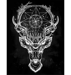 Deer head and dream catcher vector