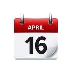 April 16 flat daily calendar icon date vector