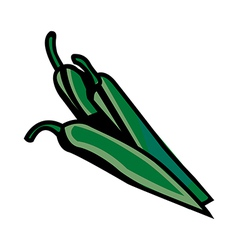 A green chilli is placed vector image vector image