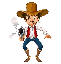 A man with a cigar and a gun vector image vector image