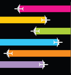 Airplane realistic of set background vector