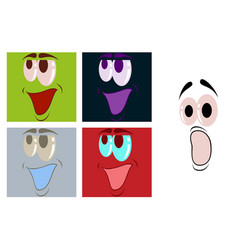 Assembly of flat icons on theme cartoon face vector