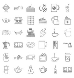bean icons set outline style vector image vector image