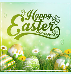 beautiful easter yellow green background vector image