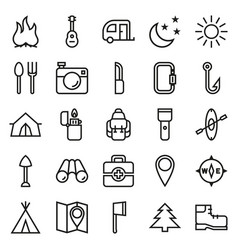 camping icons set on white background vector image vector image