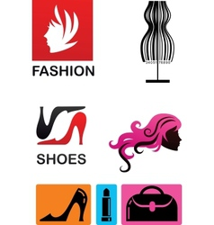 collection of fashion icons and elements vector image vector image