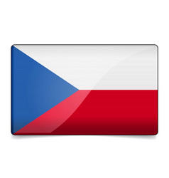czech republic flag button with reflection and vector image