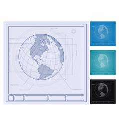 earth blueprint vector image