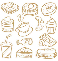 Food and drink various of doodles vector