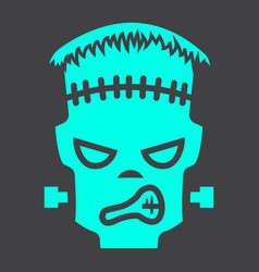 Frankenstein glyph icon halloween and scary vector