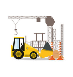 Front loader under construction concept vector