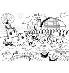 Funny farm animals in the garden vector image vector image
