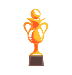 Golden winner cup with handball ball cartoon vector