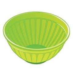 Green plastic salad bowl vector