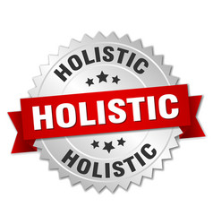 Holistic round isolated silver badge vector