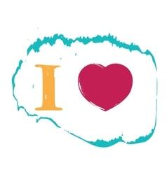 I love grunge heart background vector