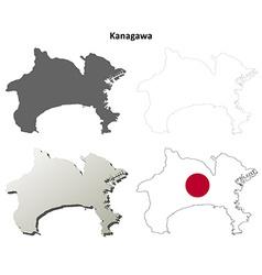 Kanagawa blank outline map set vector