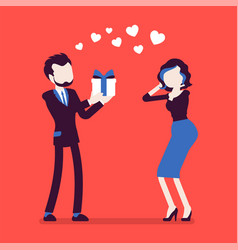 man in love giving gift to woman vector image