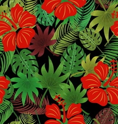 on a black background hibiscus tropical leaves vector image vector image