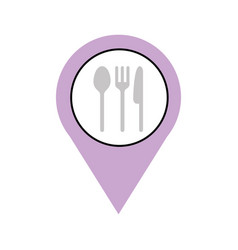 Pin location with cutlery kitchen vector