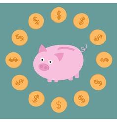 Pink piggy bank and dollar coins card vector