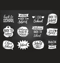 Set of vintage back to school in comic vector