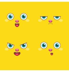 set - smiley faces vector image vector image