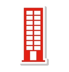 Silhouette with office building in light red vector