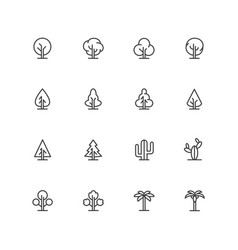 simple lineart trees icons landscape line vector image