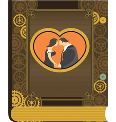 Steampunk photo album love vector