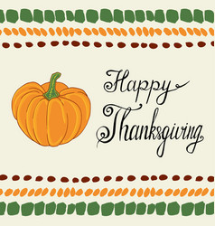 thanksgiving day calligraphic poster with pumpkin vector image vector image