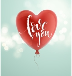 Valentines day greeting card with red heart shape vector