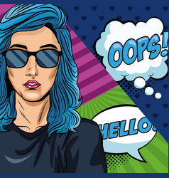 Woman with oops bubble pop art vector