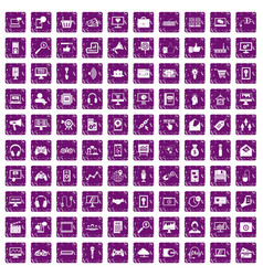 100 web and mobile icons set grunge purple vector