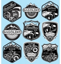 Set of badges for advertising gasoline vector
