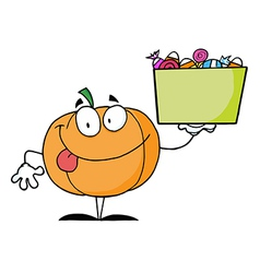 Pumpkin character holding up a tub of candy vector