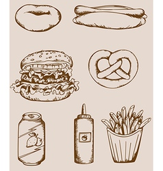 Fastfood vintage icons vector