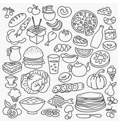 Doodle food icons hand drawn set vector