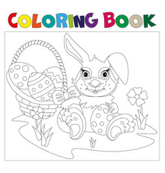 Rabbit carrying a decorated easter egg vector