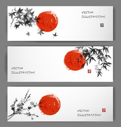 three banners with sun maple bamboo and sakura vector image