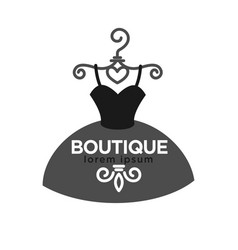 fashion boutique creative emblem in form of dress vector image