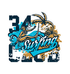 design for printing on a t-shirt girl surfer vector image