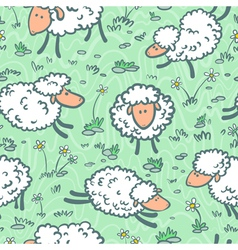 Seamless with sheeps vector