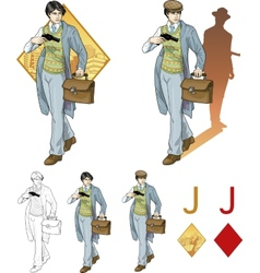 Jack of diamonds asian boy with a gun mafia card vector