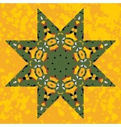 Islamic ornamental green star lace ornament vector