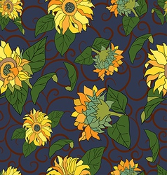 Seamless sunflower pattern vector
