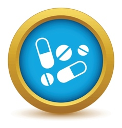 Gold tablets icon vector